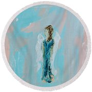 Angel With Character Round Beach Towel