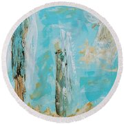 Angels Appear On Golden Clouds Round Beach Towel