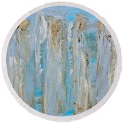 Angels Coming Together Round Beach Towel