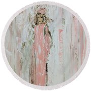 Angels In Pink Round Beach Towel