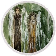 Angels For Support Round Beach Towel