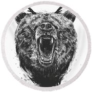Angry Bear With Antlers Round Beach Towel