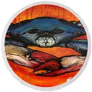 Angry Crab Round Beach Towel