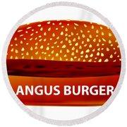 Angus Burger Round Beach Towel