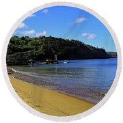 Round Beach Towel featuring the photograph Anse La Raye Beach by Tony Murtagh