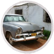 Round Beach Towel featuring the photograph Antique Car Grey Cuba 11300501 by Rick Veldman