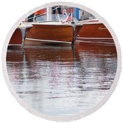 Round Beach Towel featuring the photograph Antique Classic Wooden Boats In A Row Panorama 81112p by Rick Veldman