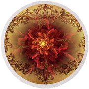 Antique Foral Filigree In Crimson And Gold Round Beach Towel