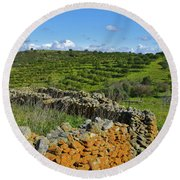 Antique Stone Wall Of An Old Farm Round Beach Towel