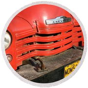 Round Beach Towel featuring the photograph Antique Truck Red Cuba 11300502 by Rick Veldman