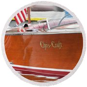 Round Beach Towel featuring the photograph Antique Wooden Boat 1305 by Rick Veldman