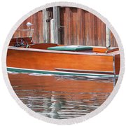 Round Beach Towel featuring the photograph Antique Wooden Boat By Dock 1302 by Rick Veldman