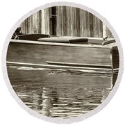Round Beach Towel featuring the photograph Antique Wooden Boat By Dock Sepia Tone 1302tn by Rick Veldman
