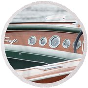 Round Beach Towel featuring the photograph Antique Wooden Boat Dashboard 1306 by Rick Veldman