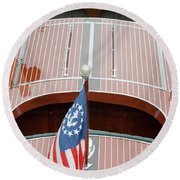 Round Beach Towel featuring the photograph Antique Wooden Boat With Flag 1303 by Rick Veldman