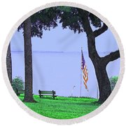 A Patriotic Scenic View From Fairhope Alabama Round Beach Towel
