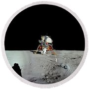 Apollo 11 Panorama Of The First Men Round Beach Towel