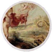'apollo And The Python', 1636-1637, Flemish School, Oil On Panel, 26,8 Cm X ... Round Beach Towel