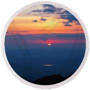 Appalachian Trail, New Hampshire Sunset Round Beach Towel