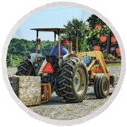 Round Beach Towel featuring the photograph Apple Orchard by Tatiana Travelways