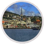 Round Beach Towel featuring the photograph Approaching Fort De France by Tony Murtagh