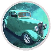 Aqua 1934 Ford Round Beach Towel