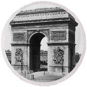 Arc De Triomphe - Vintage Paris - Circa 1860 Round Beach Towel
