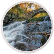 Round Beach Towel featuring the photograph Arch Bridge At Vaughan Woods by Rick Berk