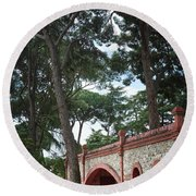 Architecture At The Gardens Of Cecilio Rodriguez In Retiro Park - Madrid, Spain Round Beach Towel