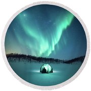 Arctic Camping Round Beach Towel