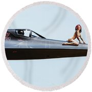 Area 71 Nose Art Round Beach Towel