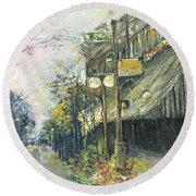 Argenta This Is Not Alices Restaurant Round Beach Towel