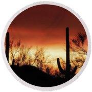 Arizona Monsoon Sunset 2019 Round Beach Towel