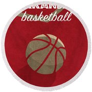 Arkansas Basketball Retro College Poster Round Beach Towel