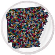 Arkansas Map - 3 Round Beach Towel