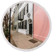 Around The Street Lamp Round Beach Towel