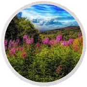 Art Photo Of Vermont Rolling Hills With Pink Flowers In The Fore Round Beach Towel