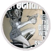 arteMECHANIX 1906 The GIRL WITH The SHINY RAYGUN GRUNGE Round Beach Towel
