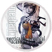 arteMECHANIX 1913 AMERICA THE BEAUTIFUL GRUNGE Round Beach Towel