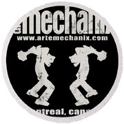 arteMECHANIX OFFICIAL LOGO  GRUNGE Round Beach Towel