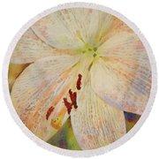Artistic White Lily Round Beach Towel
