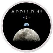 Apollo 11 First Man On The Moon Round Beach Towel