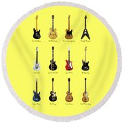Guitar Icons No2 Round Beach Towel