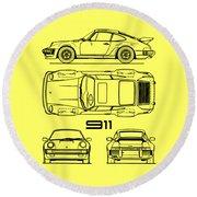 The 911 Turbo Blueprint Round Beach Towel