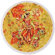 Ganges Flower Round Beach Towel
