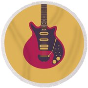Red Special Guitar - Gold Round Beach Towel