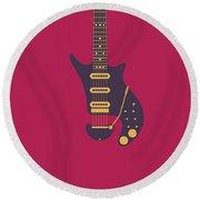 Red Special Guitar - Burgundy Round Beach Towel