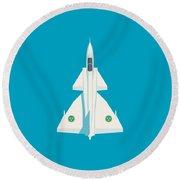 J37 Viggen Swedish Air Force Fighter Jet Aircraft - Blue Round Beach Towel