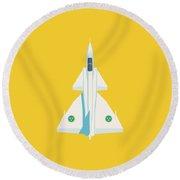 J37 Viggen Swedish Air Force Fighter Jet Aircraft - Yellow Round Beach Towel