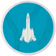 Sr-71 Blackbird Jet Aircraft - Cyan Round Beach Towel